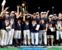 Jun 24, 2015; Omaha, NE, USA; The Virginia Cavaliers celebrate with the NCAA championship trophy after defeating the Vanderbilt Commodores in game three of the College World Series Final at TD Ameritrade Park. Virginia defeated Vanderbilt 4-2 to win the College World Series.  Mandatory Credit: Steven Branscombe-USA TODAY Sports