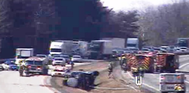 Westbound lanes of Interstate 64 were shut down for hours on