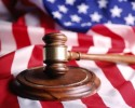 Gavel with flag (clipart)